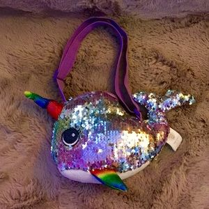 Narwhal sequined rainbow plush tote